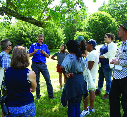 Paul Meyer gives a tour at Morris Arboretum