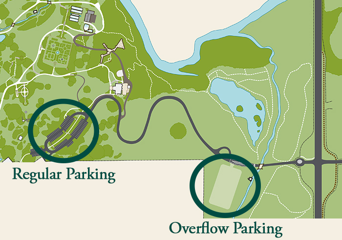 An illustration/map of the garden with circles around the two parking areas showing that regular parking is at the top of the hill and overflow parking is unpaved and at the bottom of the hill with no paved paths connected to it.